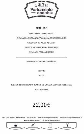 menu de grupo de 22 euros
