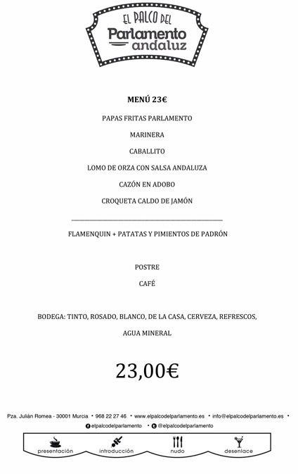 menu de grupo de 23 euros