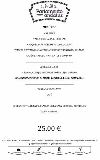 menu de grupo de 25 euros
