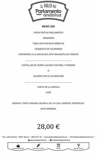 menu de grupo de 28 euros
