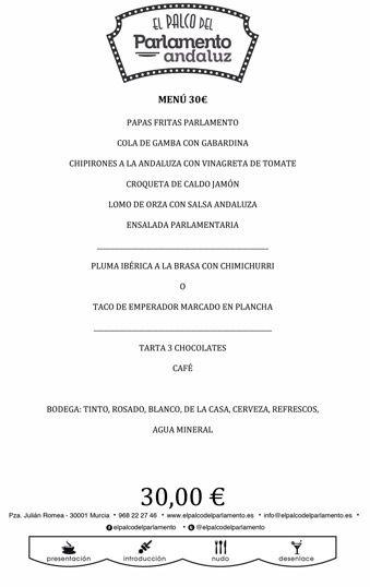 menu de grupo de 30 euros