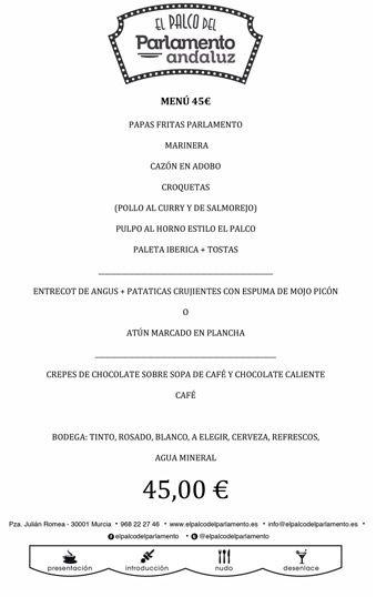 menu de grupo de 45 euros