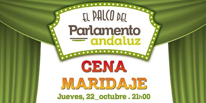 cartel cena maridaje en el palco del parlamento