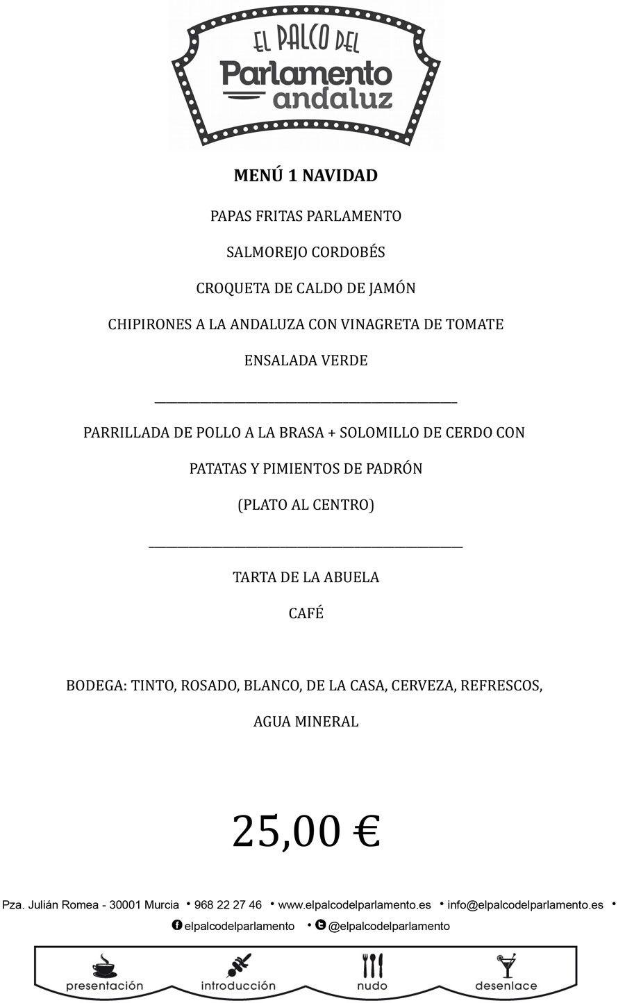 menu de navidad de el palco del parlamento