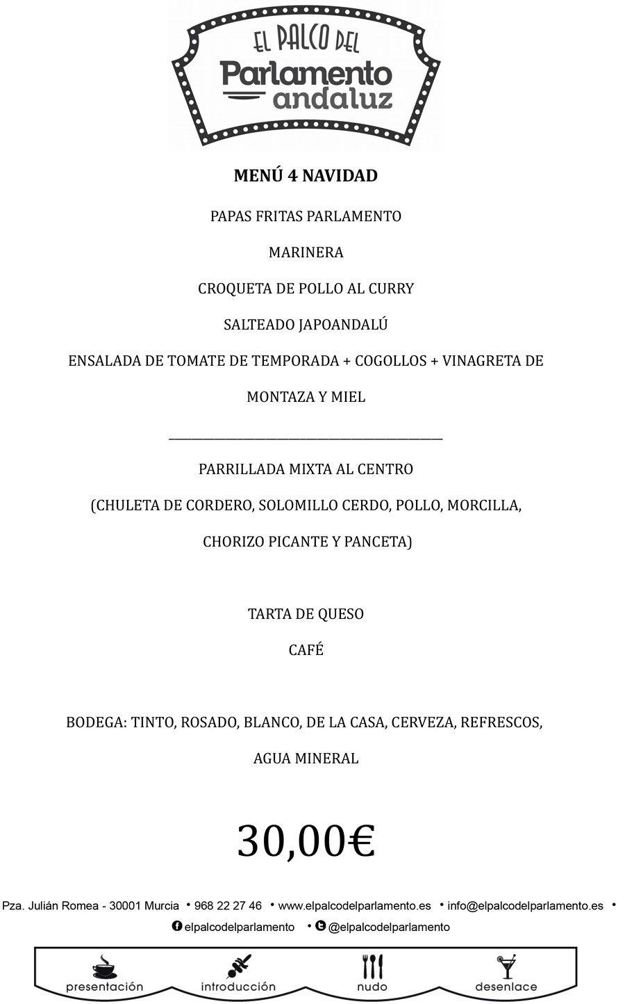 menu 4 de el palco del parlamento