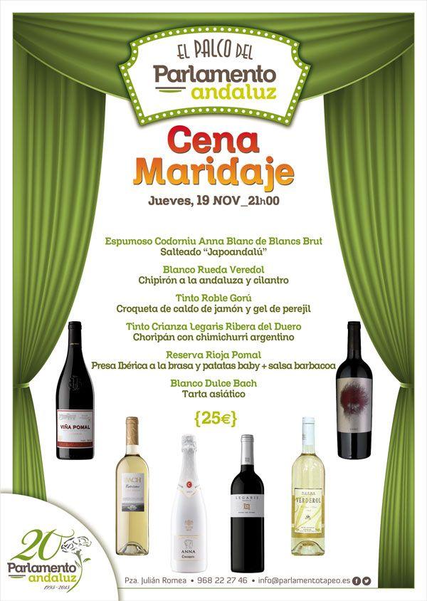 cartel cena maridaje con cata de vinos de el palco del parlamento