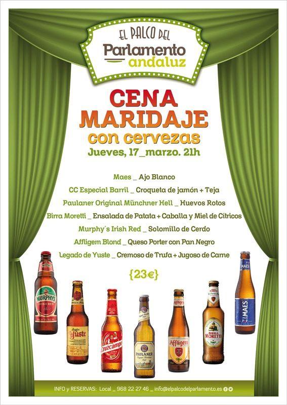 cartel cena maridaje con cervezas en el bar el palco del parlamento de murcia