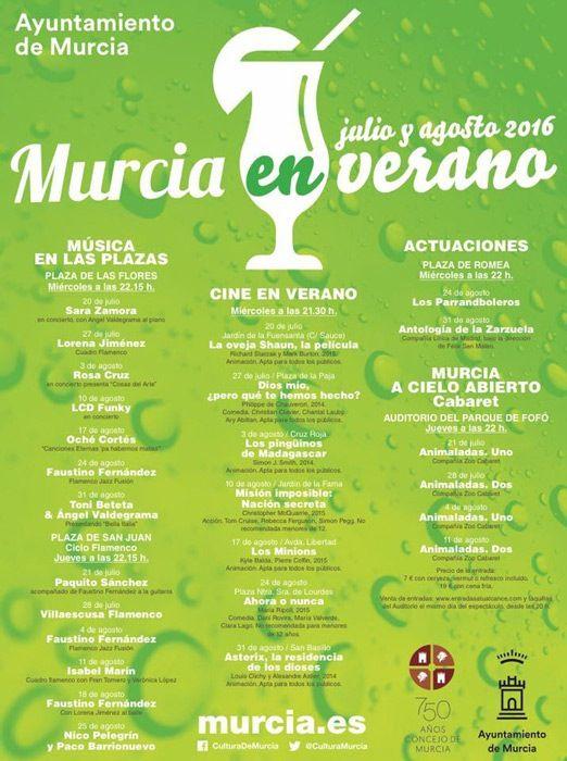cartel de actividades de verano en Murcia