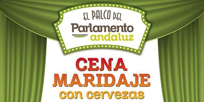 cartel de la cena maridaje de cervezas en el palco del parlamento andaluz de murcia