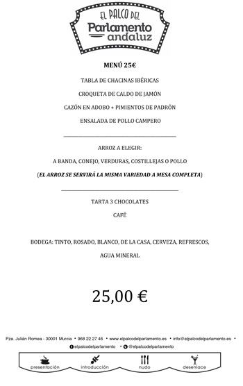 menu para grupos a 25 euros detallado