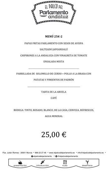 menú para grupos II de 25 euros al detalle