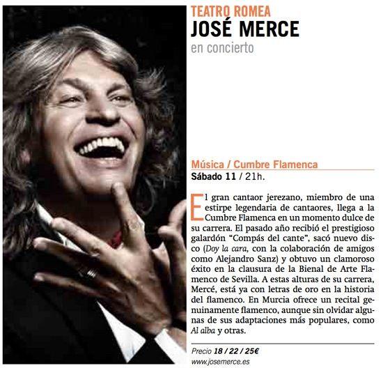 Concierto de José Mercé en Murcia, detalles de actuación en el Teatro Romea